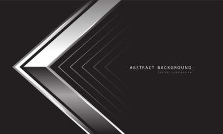Abstract silver arrow direction on dark grey design modern luxury futuristic background vector illustration.