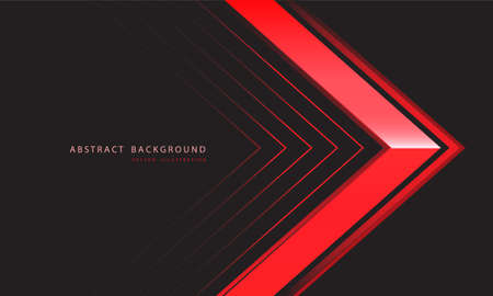 Abstract red metallic arrow direction on dark grey design modern luxury futuristic background vector illustration.