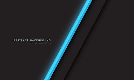 Abstract blue light neon line slash on dark grey with simple text on blank space design modern futuristic technology background vector illustration. 向量圖像