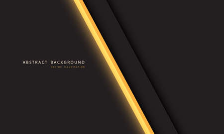 Abstract yellow light neon line slash on dark grey with simple text on blank space design modern futuristic technology background vector illustration.