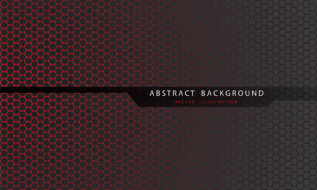 Abstract red hexagon mesh pattern on grey with black line polygon and text design modern futuristic background vector illustration.