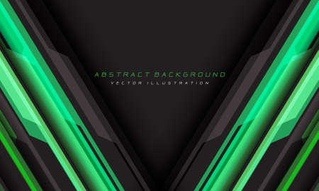 Abstract green grey cyber geometric line with triangle blank space and text design modern futuristic background vector illustration.