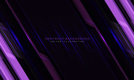Abstract violet line cyber circuit slash on black and text design modern futuristic technology background vector illustration.