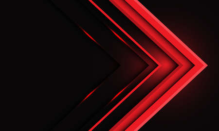 Abstract red metallic arrow light on black
