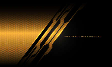 Abstract gold black cyber circuit line hexagon mesh pattern texture with text on blank space design modern luxury futuristic technology background vector illustration.