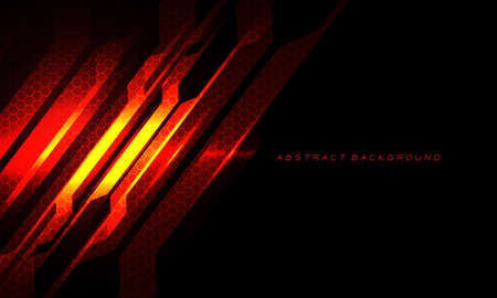 Abstract red fire circuit cyber slash hexagon mesh on black with blank space and text design modern technology futuristic background vector illustration.