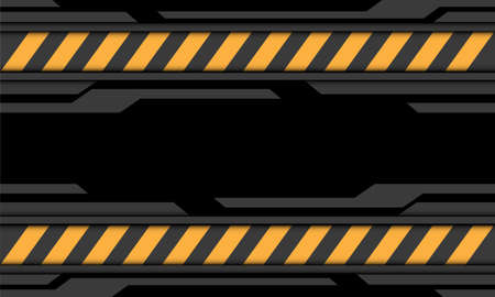 Abstract grey black cyber yellow line caution symbol design modern futuristic technology background vector illustration.