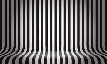 Black white line pattern studio display empty space background vector illustration.
