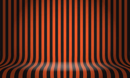 Black orange line pattern studio display empty space background vector illustration.