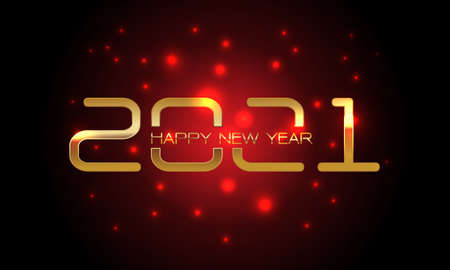 Happy New Year 2021 gold number and text on red light blur black design for countdown holiday festival celebration vector illustration. Illustration