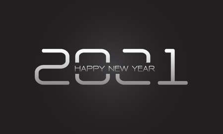 Happy New Year 2021 silver number and text on grey design for countdown holiday festival celebration vector illustration.