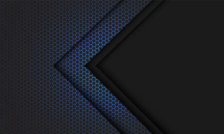 Abstract blue hexagon mesh light grey arrow direction with blank space design modern futuristic technology background vector illustration. 矢量图像