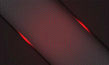 Abstract red hexagon mesh pattern light slash on grey on grey design modern futuristic technology background vector illustration.