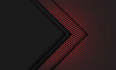 Abstract red hexagon mesh light grey arrow direction with blank space design modern futuristic technology background vector illustration. 矢量图像