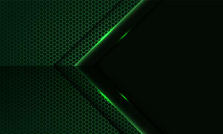 Abstract green light arrow direction on hexagon mesh pattern with blank space design modern luxury futuristic technology background vector illustration.