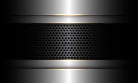 Abstract dark grey metallic circle mesh banner on silver design modern luxury futuristic technology industrial background vector illustration.