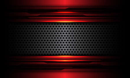 Abstract grey circle mesh metal banner overlap on red metallic black cyber circuit design modern futuristic technology background texture vector illustration.