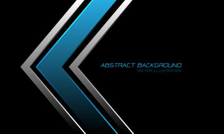 Abstract blue metallic silver arrow direction on black with text design modern luxury futuristic background vector illustration.