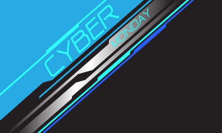 Cyber Monday blue neon text silver line circuit geometric with grey blank space design modern futuristic background vector illustration.