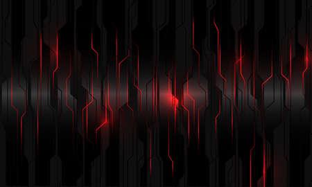 Abstract red light power circuit on black metallic cyber geometric design modern technology futuristic background vector illustration.