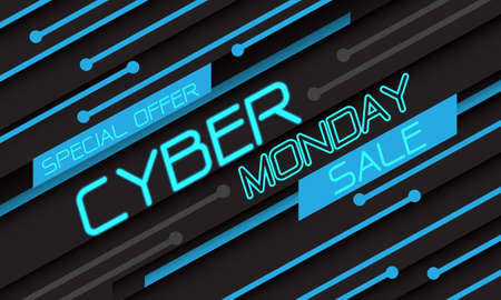 Cyber Monday sale special offer blue light circuit geometric technology on black design modern futuristic vector background illustration.  イラスト・ベクター素材