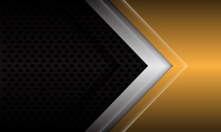 Abstract gold silver arrow direction on black metallic circle mesh design modern futuristic background vector illustration.