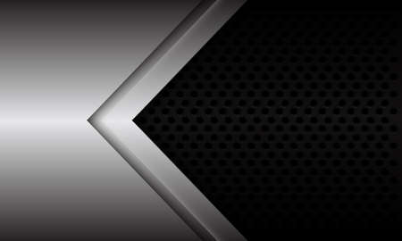 Abstract silver arrow direction on black metallic circle mesh design modern futuristic background vector illustration.