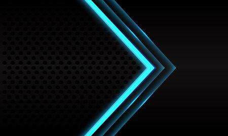 Abstract blue neon arrow direction on black metallic circle mesh pattern design modern futuristic background vector illustration.