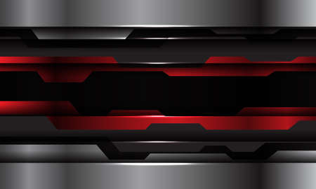 Abstract red black metallic silver cyber technology futuristic design modern background vector illustration.