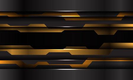 Abstract yellow black metallic cyber technology futuristic design modern background vector illustration.