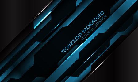 Abstract blue black metallic cyber futuristic slash banner design modern technology background vector illustration.