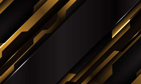 Abstract yellow black metallic cyber futuristic slash banner design modern technology background vector illustration.  イラスト・ベクター素材