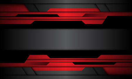 Abstract red grey black metallic cyber geometric banner design modern futuristic background vector illustration.  イラスト・ベクター素材