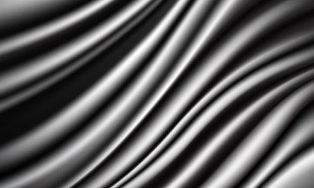 Realistic silver grey fabric silk satin wave luxury background vector illustration.  イラスト・ベクター素材