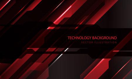 Abstract technology cyber circuit red black metallic slash speed dark banner transparency overlap design modern futuristic background vector illustration.
