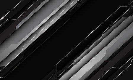 Abstract silver grey black metallic geometric technology cyber circuit line futuristic slash design modern vector illustration.