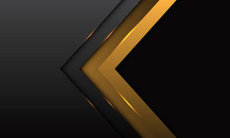 Abstract gold arrow direction with grey metallic with black blank space design modern luxury futuristic background vector illustration.  イラスト・ベクター素材
