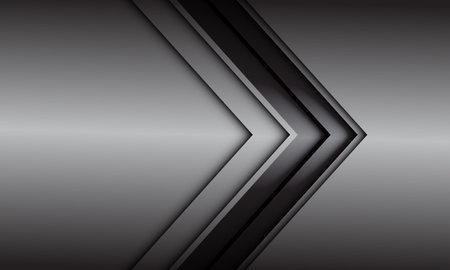 Abstract grey black line arrow direction on grey metallic design modern futuristic background vector illustration.