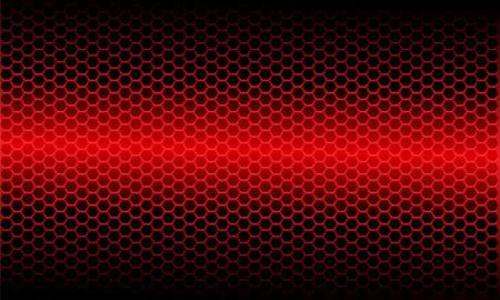 Abstract red light metallic hexagon mesh pattern on black design modern futuristic background vector illustration.  イラスト・ベクター素材