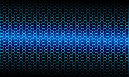 Abstract blue light metallic hexagon mesh pattern on black design modern futuristic background vector illustration.  イラスト・ベクター素材