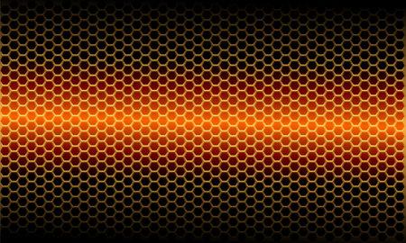 Abstract orange light metallic hexagon mesh pattern on black design modern futuristic background vector illustration.