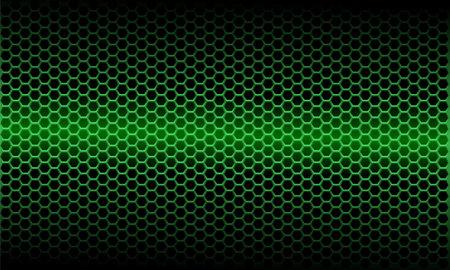 Abstract green light metallic hexagon mesh pattern on black design modern futuristic background vector illustration.