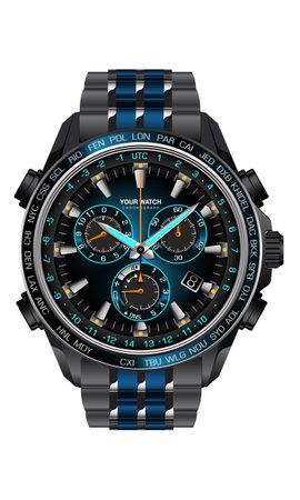 Realistic clock watch chronograph blue dark grey metal steel design for men on white background vector illustration.  イラスト・ベクター素材