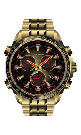 Realistic clock watch chronograph gold black red design for men on white background vector illustration.