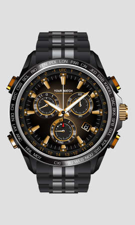 Realistic clock watch chronograph black steel gold number luxury on white background design for men on white vector illustration.