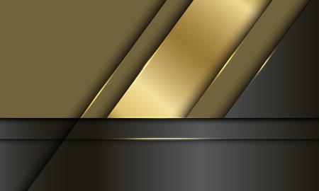 Abstract gold black metallic overlap design luxury modern futuristic background vector illustration.