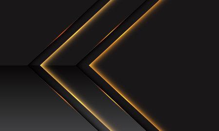 Abstract gold light arrow metallic direction on dark grey with blank space design modern futuristic technology background vector illustration. Stock Illustratie