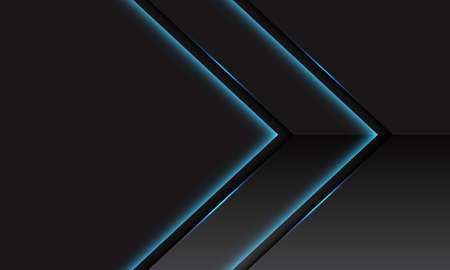 Abstract blue light line neon glossy metallic arrow direction on dark grey with blank space design modern futuristic technology background vector illustration. Stock Illustratie
