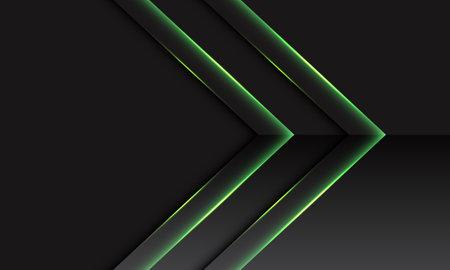 Abstract green double arrow metallic direction on dark grey with blank space design modern futuristic technology background vector illustration. Stock Illustratie