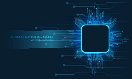 Abstract blue technology cyber circuit computer with banner blank space futuristic vector background illustration. Stock Illustratie